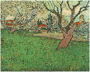 View of Arles with flowering trees