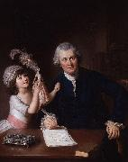 William Hoare Portrait of Christopher Anstey with his daughter oil painting on canvas