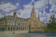 Painting of view of Jackson Square French Quarter of New Orleans,