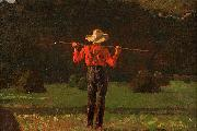 Farmer with a Pitchfork, oil on board painting by Winslow Homer