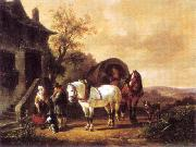 Wouterus Verschuur Waiting before the inn oil painting reproduction