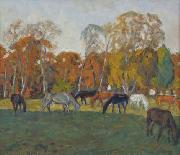 A landscape with horses,