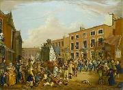 Oil on canvas painting depicting the ancient custom of rushbearing on Long Millgate in Manchester in 1821