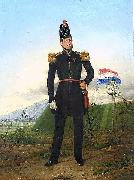 Oil painting with an officer of the KNIL, the Royal Dutch East Indies Army.