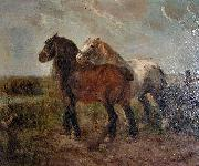 unknow artist Brabant draught horses oil painting on canvas