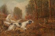 Oil painting of hunting dogs by Verner Moore White.