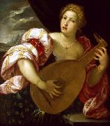 Young Woman Playing a Lute