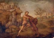 Hercules and the Nemean Lion, oil on panel painting attributed to Jacopo Torni