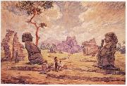 Oil painting. Temple ruins in Candi Sewu