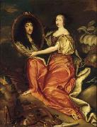 Henriette d'Angleterre as Minerva holding a painting of her husband the Duke of Orleans