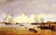 Anton Ivanov Fishing Vessels off a Jetty oil painting