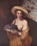 Shepherdess with Grapes
