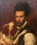 Bartolomeo Passerotti Portrait of a Man with a Dog oil painting reproduction