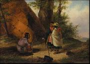 Cornelius Krieghoff Indians Meeting by a Teepee oil painting artist