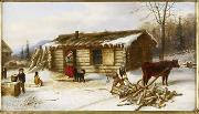 Cornelius Krieghoff Chopping Logs Outside a Snow Covered Log Cabin oil painting artist