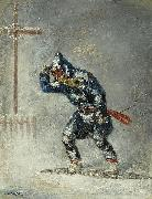 Cornelius Krieghoff 'Snowshoeing Home in a Blizzard' oil painting artist