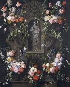 Garland of flowers with a sculpture of the Virgin Mary