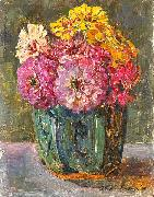 Floris Verster Stillife with zinnias in a ginger pot. oil painting artist