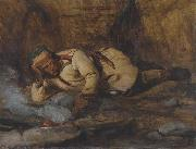 A Laplander asleep by a fire