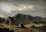 A Bog with Peat Cutters. Hosterkob, Sealand