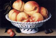 White Ceramic Bowl with Peaches and Red and Blue Plums