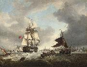 George Webster A '74' shortening sail as she passes through the entrance to Portsmouth harbour oil painting reproduction