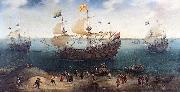The Amsterdam fourmaster De Hollandse Tuyn and other ships on their return from Brazil under command of Paulus van Caerden.