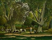Henri Rousseau Landscape with Milkmaids oil painting reproduction