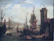 English and dutch ships taking on stores at a port