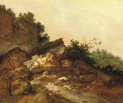 A rocky landscape with two peasants conversing near classical ruins