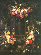 Garland of flowers surrounding Christ figure in grisaille