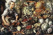Market Woman with Fruit, Vegetables and Poultry