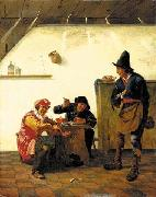 Peasants smoking and making music in an inn