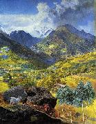John Brett Val d'Aosta oil painting on canvas