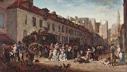 Louis-Leopold Boilly The Arrival of the Diligence (stagecoach) in the Courtyard of the Messageries oil painting artist
