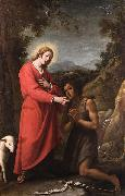 Matteo Rosselli Jesus and John the Baptist meet in their youth oil painting