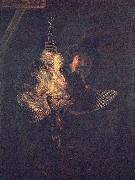 REMBRANDT Harmenszoon van Rijn Selbstportrat mit toter Rohrdommel oil painting reproduction