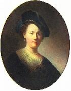 Bust of a woman with a feathered beret