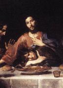 VALENTIN DE BOULOGNE St. John and Jesus at the Last Supper oil painting artist