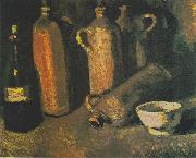 bottles and white bowl