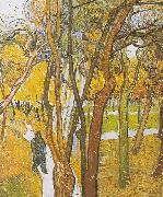 Vincent Van Gogh Walkers in the park with falling leaves oil painting on canvas
