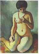 Female nude with coral necklace
