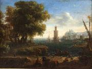 Claude Lorrain Paisaje de un puerto oil painting on canvas