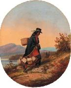 Indian Basket Seller in Autumn Landscape