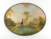 Decorated oval japanned tray base with painted scene from Tristram Shandy, signed and attributed to Edward Bird.