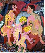 Bathing women and children