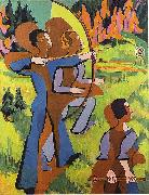 Archers - Oil on Carvan - 195 - 150 cm - Kirchner Museum Davos