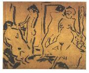 Female nudes in a atelier