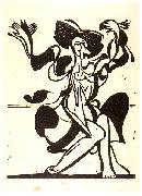 Dancing Mary Wigman - Woodcut