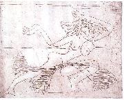 Female dancer - etching